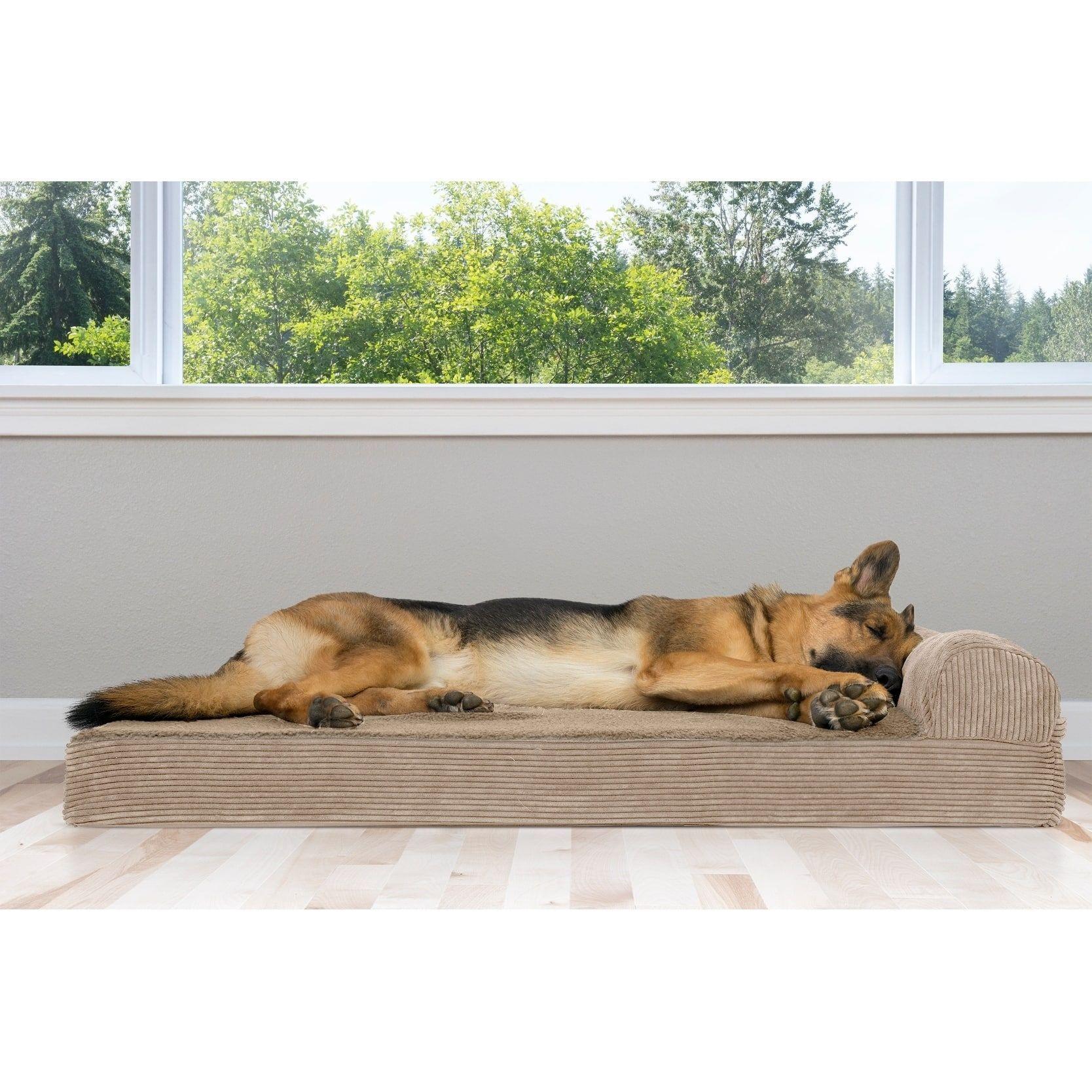 FurHaven Pet Bed | Faux Fleece & Corduroy Chaise Lounge Orthopedic Sofa Dog Bed