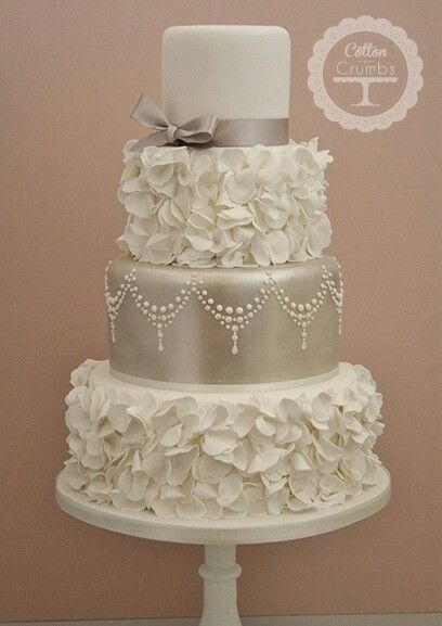 4 Tier Champagne Colored Petal Wedding Cake