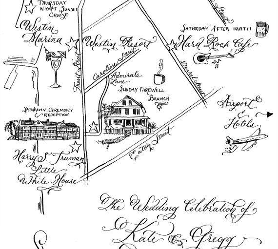 Custom Hand-drawn Wedding Map