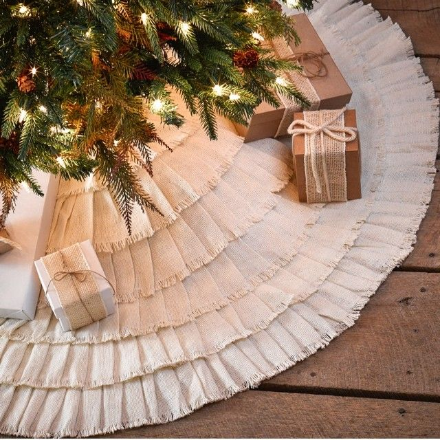 New French Country Primitive Tan Burlap Ruffled Large Christmas Tree Skirt 48/""
