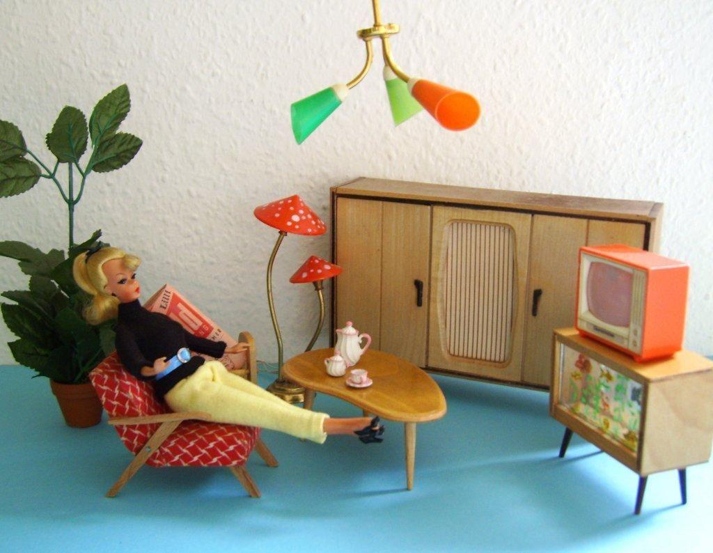 Jd100479 bild lilli wohnzimmer 50s barbie vintage retro kids pinterest 60er wohnzimmer - Barbie wohnzimmer ...