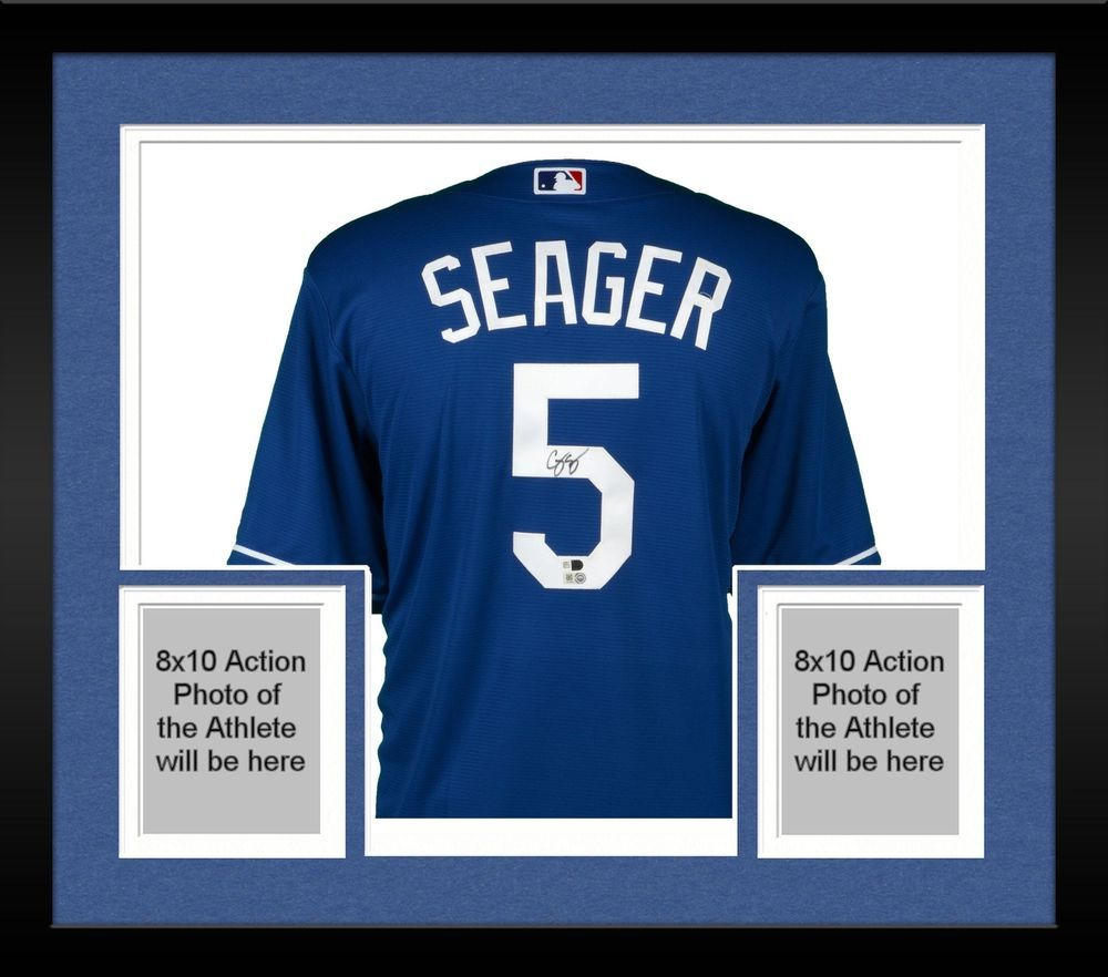 352294761 Framed Corey Seager Los Angeles Dodgers Autographed Majestic Blue Replica  Jersey