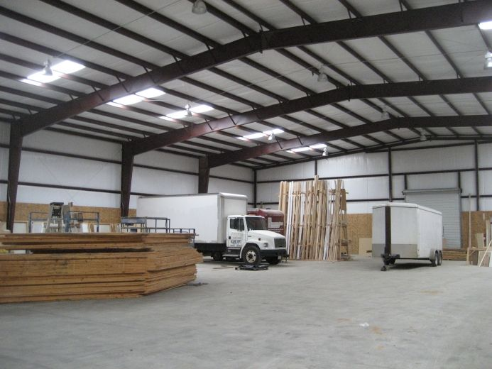 Custom wood working shop metal building with skylights and for Steel building with loft