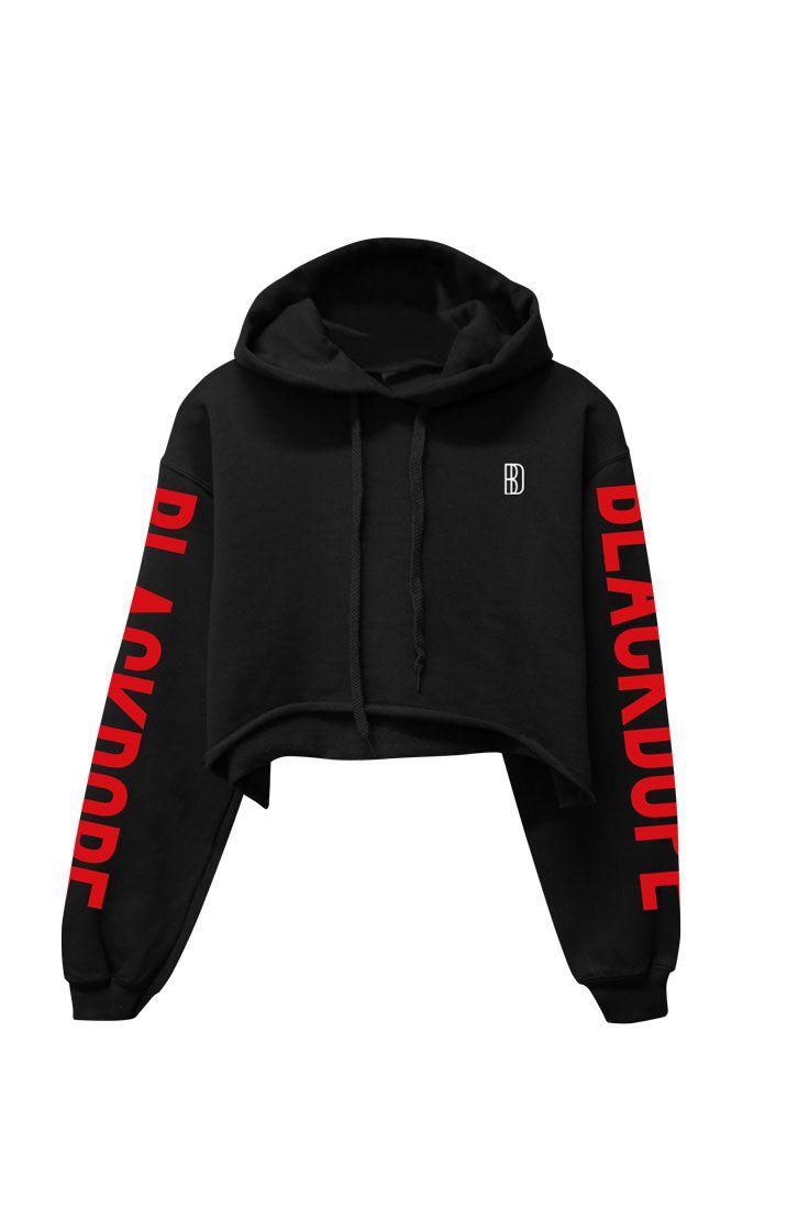 9234ee486d6b HOODIE BLACK CROPPED SLEEVE PRINT RED Cropped Hoodie Outfit, Black Hoodie, Sweater  Hoodie,