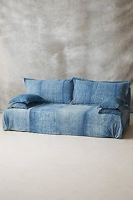 Luxury Batik Light Blue Slipcover Armless Sofa Couch Settee Hand