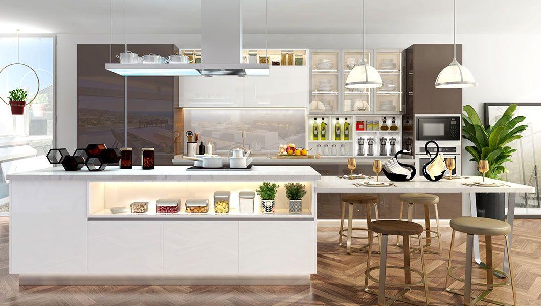 StraightLine Kitchen with Island in 2020