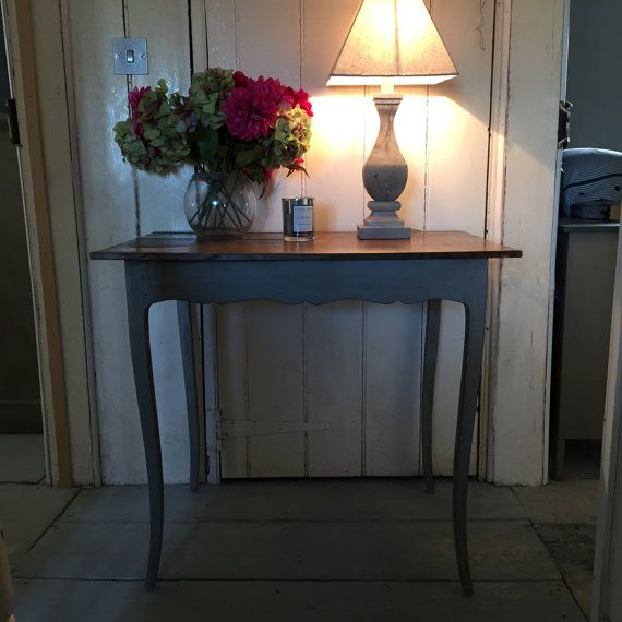 Beautiful French Vintage Grey Hand Painted Patina Side Hall Table Writing Desk Handmade