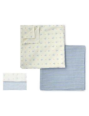 Blue Mix 2 Pack Pure Cotton Giant 120x120cm Muslin Squares