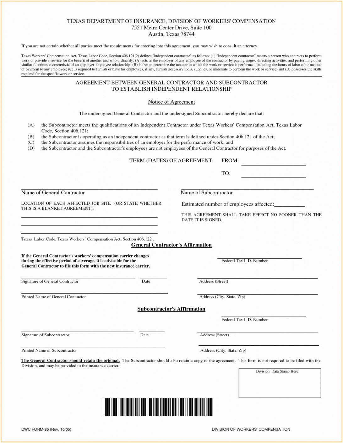Truck Driver Subcontractor Agreement Template In 2020 With Images