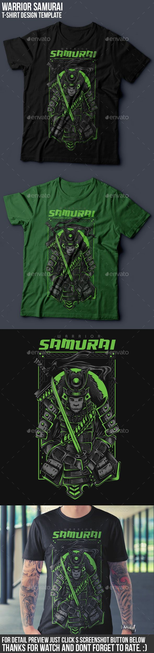 Shirt design eps - Samurai Warrior T Shirt Design