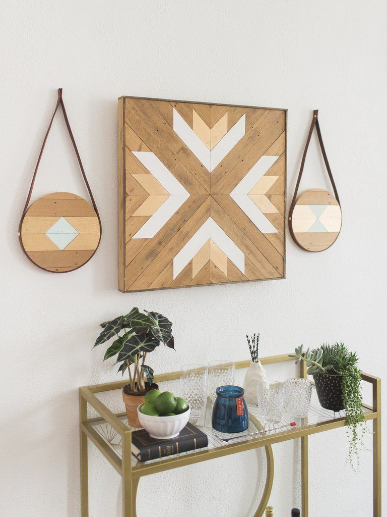 Copy of round geometric reclaimed wood and brown leather wall art