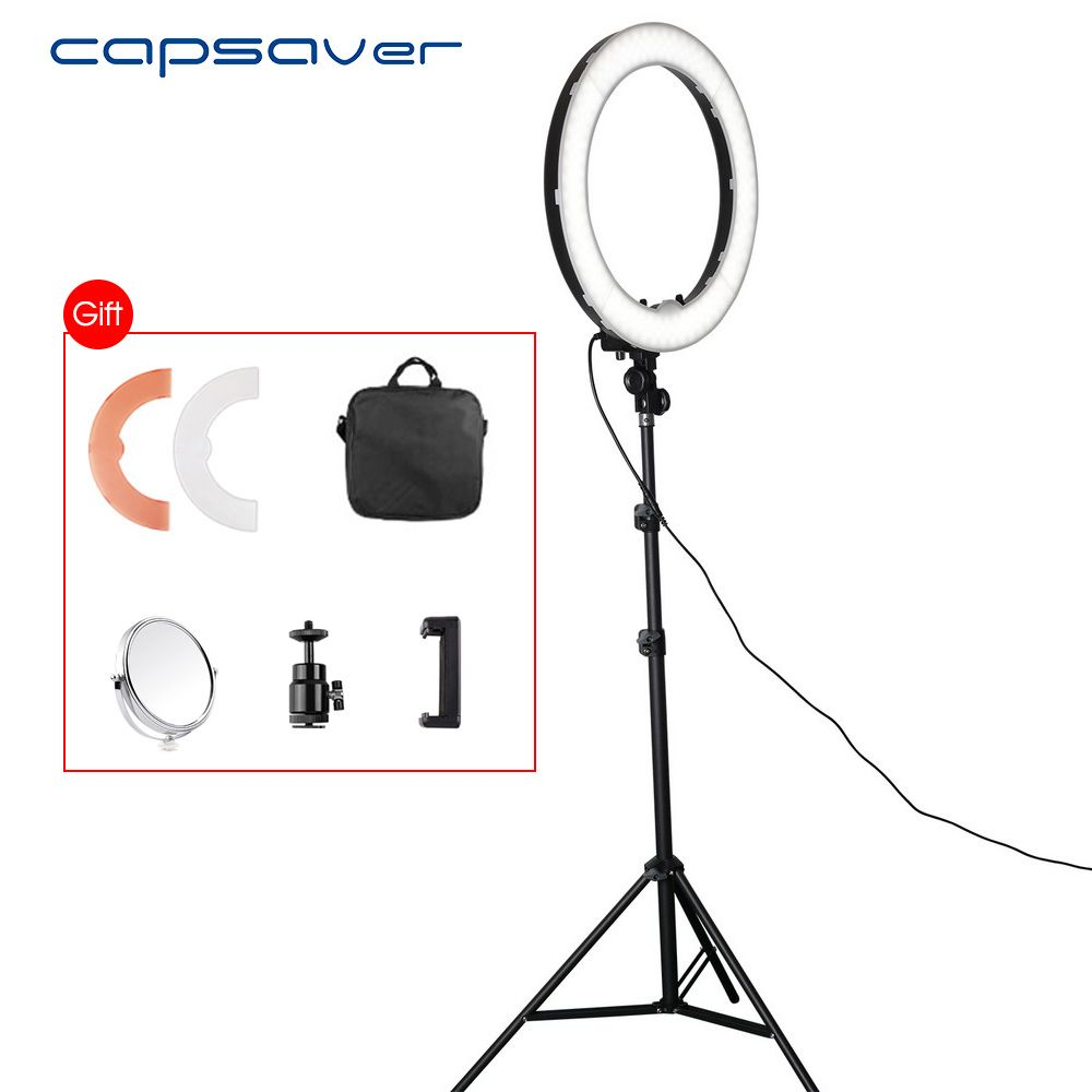 Find More Photographic Lighting Information About Capsaver Rl 12 Led Ring Light With Tripod Mirror Photography Lighting Dimmable 5500k 180 Leds Camera Studi Leds