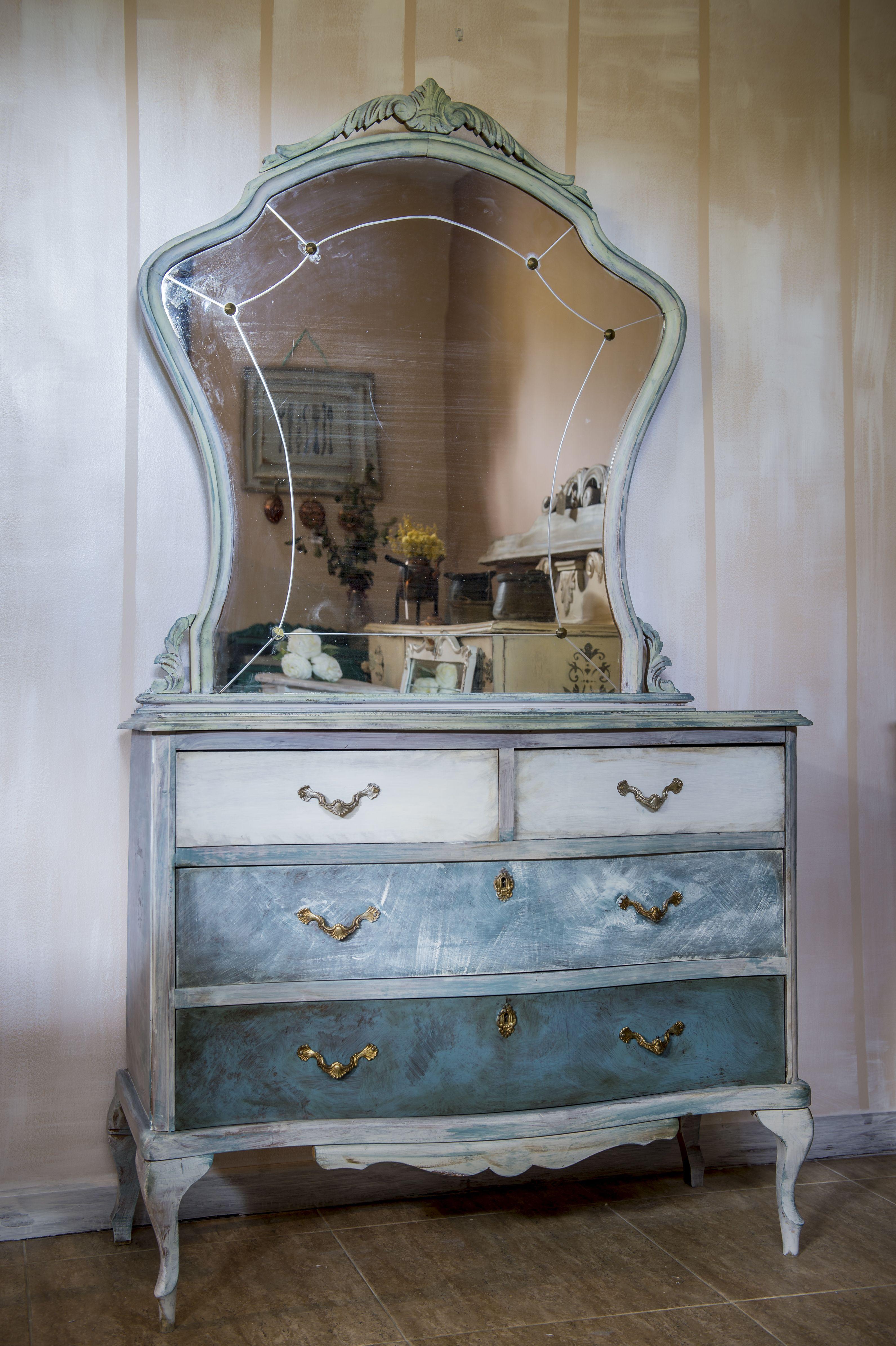Comoda Antigua Con Espejo Restaurada Fusi N Shabby Chic N Rdico  # Muebles Efecto Espejo