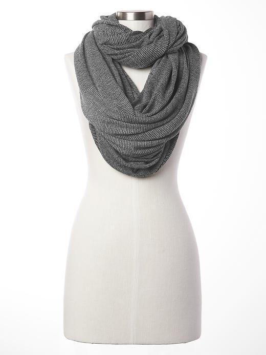 Fall Winter Women fashion two tone Zigzag infinity Scarf loop scarf Grey