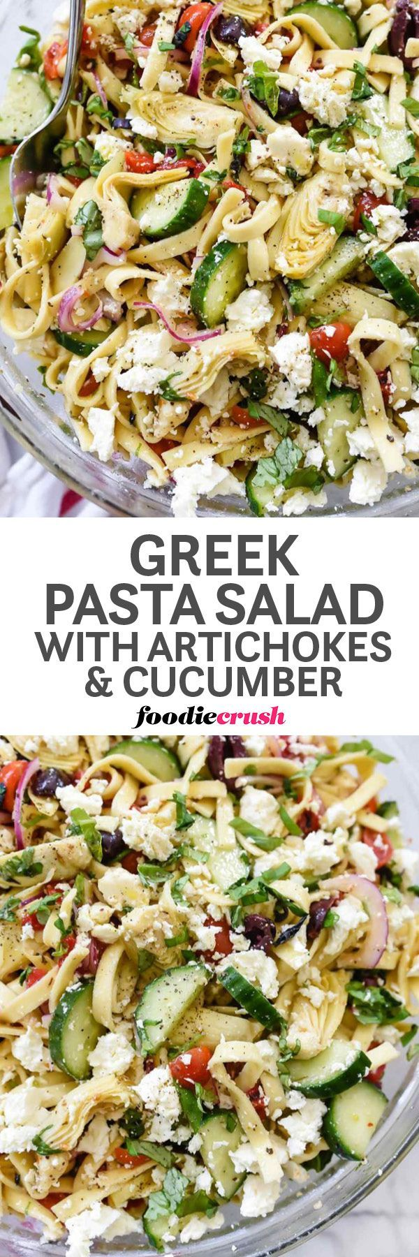 Healthy Easy Greek Pasta Salad Recipe with artichokes and cucumber   Potluck Pasta Salad   BBQ Pasta Salad Recipe   Summer foodiecrush.com
