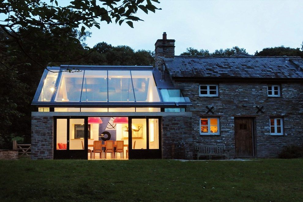 Modern Extension Exterior Transitional With Farm Building Stone Patio Jpg 990 660 Victorian Homes Exterior House Extension Design Modern Farmhouse Exterior
