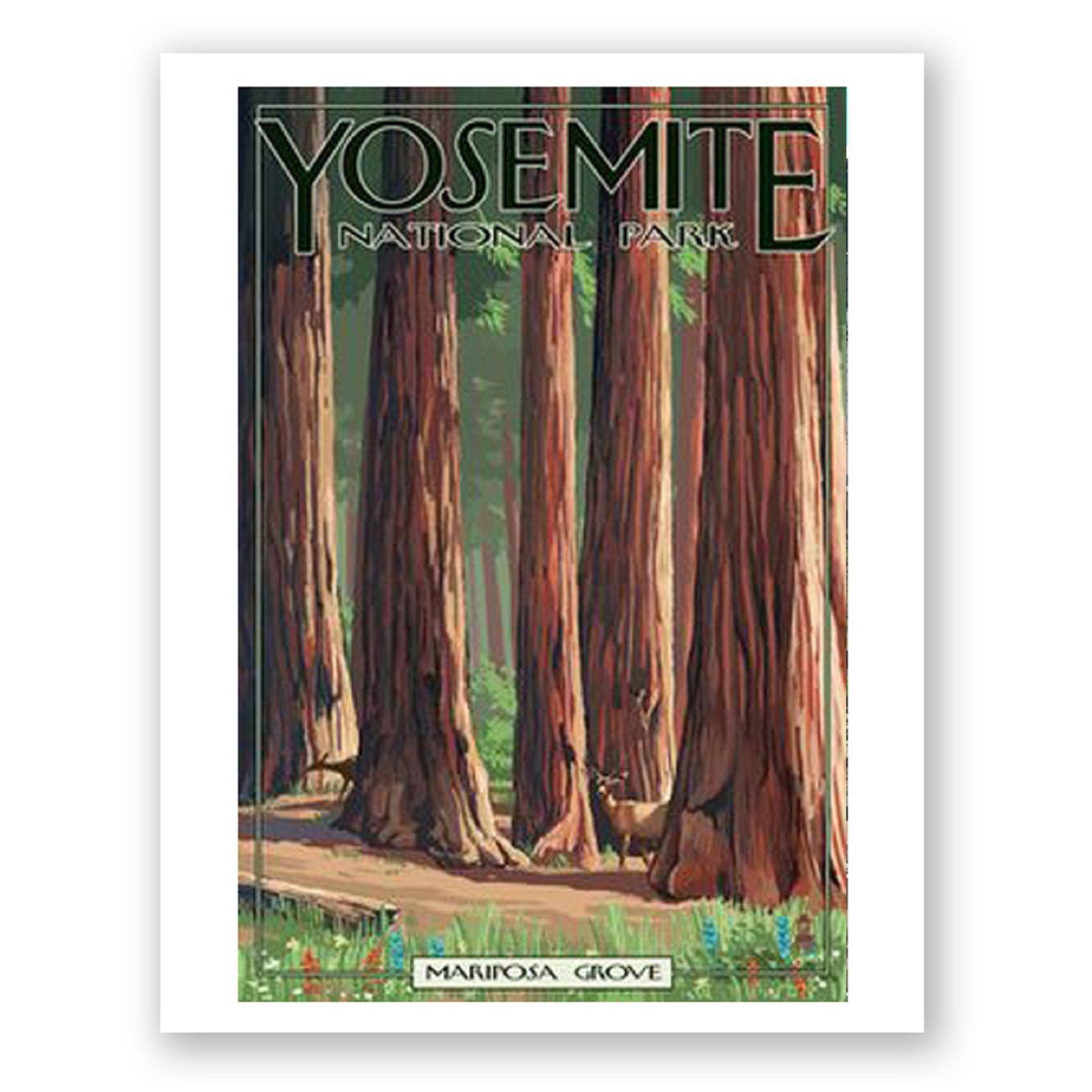Yosemite Canvas Travel Poster: Yosemite Mariposa Grove Print