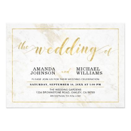 Marble Simple Modern Typography Wedding Ceremony Card Wedding