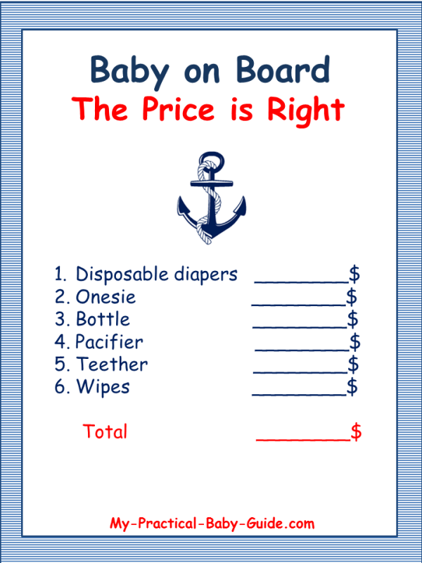 graphic regarding Free Printable Nautical Baby Shower Games identify Free of charge Printable Nautical Little one Shower Recreation - The Selling price is
