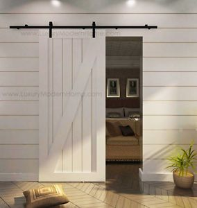L Rustic Country Sliding Closet Wood Barn Door Hardware Steel Black Antique