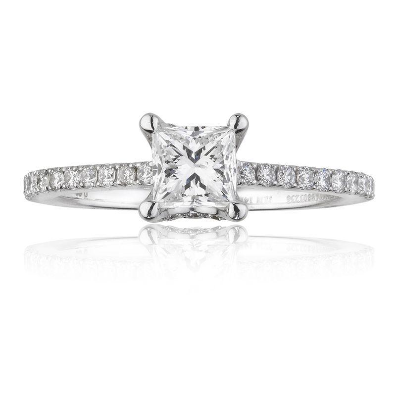 Canadian Diamond 78ctw PrincessCut Diamond Pav Engagement Ring