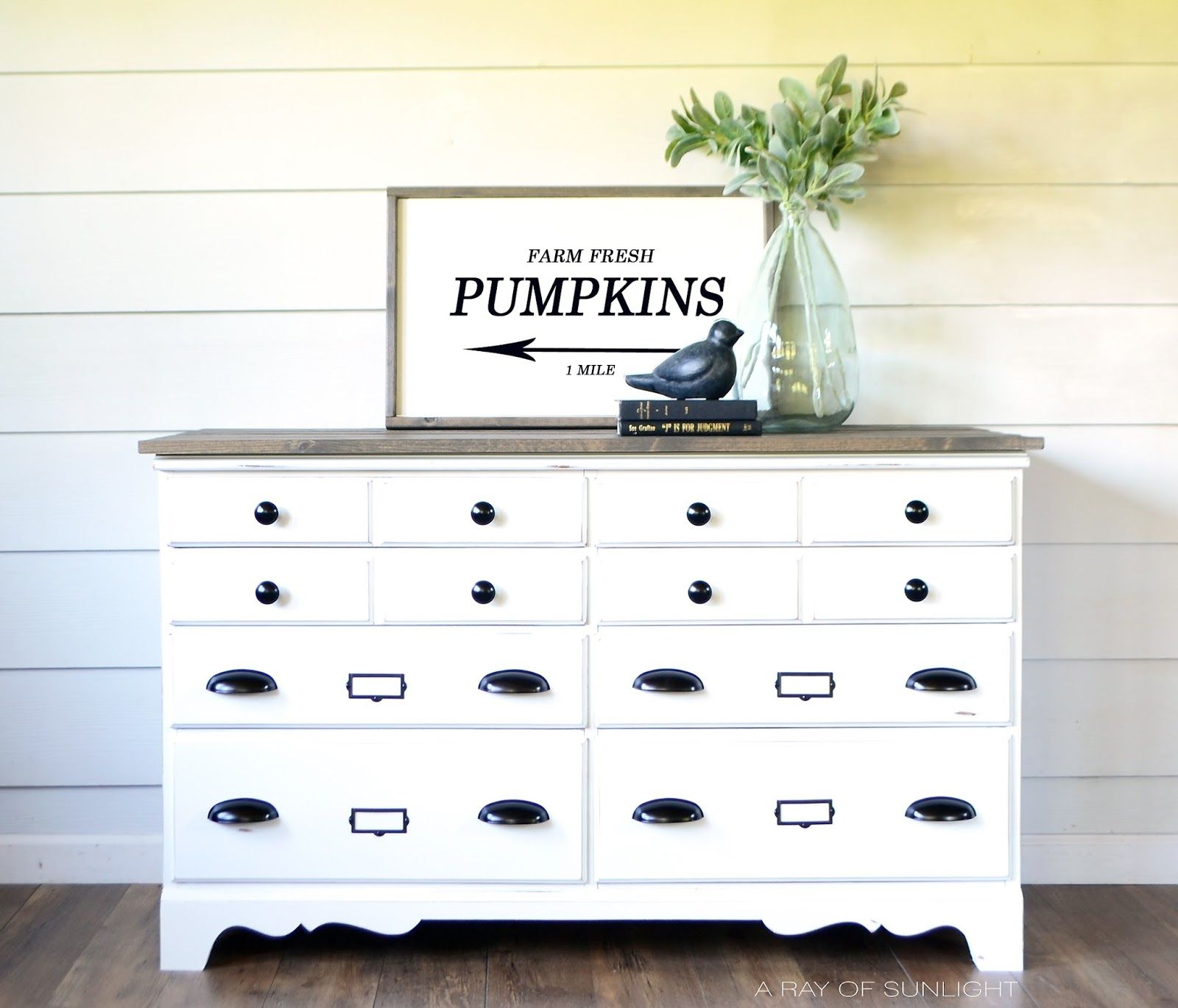 Painted White Farmhouse 8 Drawer Dresser With Wood Plank Top