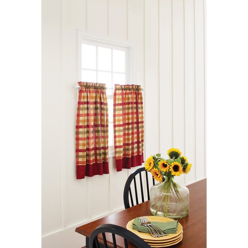 Red Check 60W X 36L In. Kitchen Curtain Tier Pair