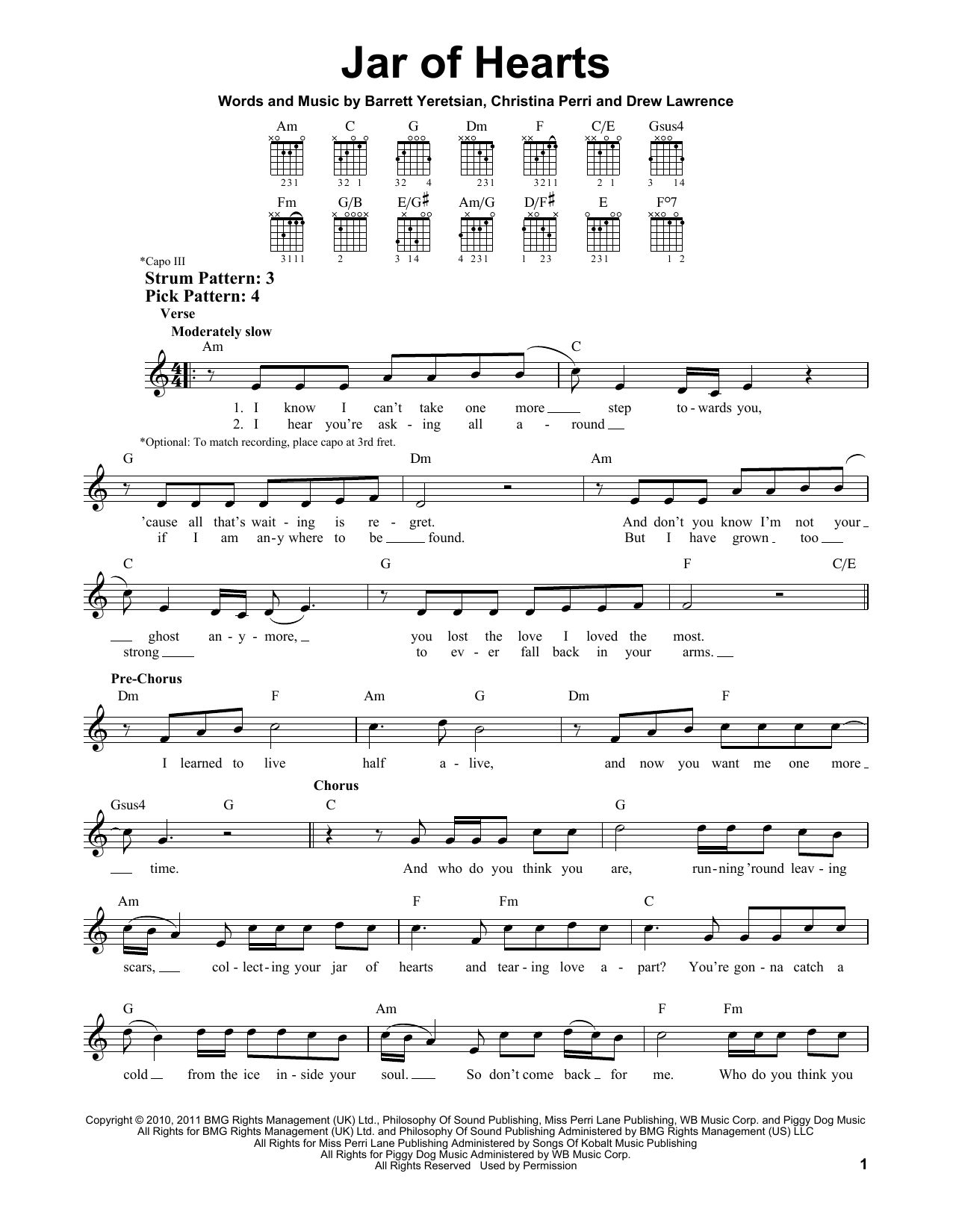 Jar Of Hearts Chords With Images Sheet Music Notes Digital
