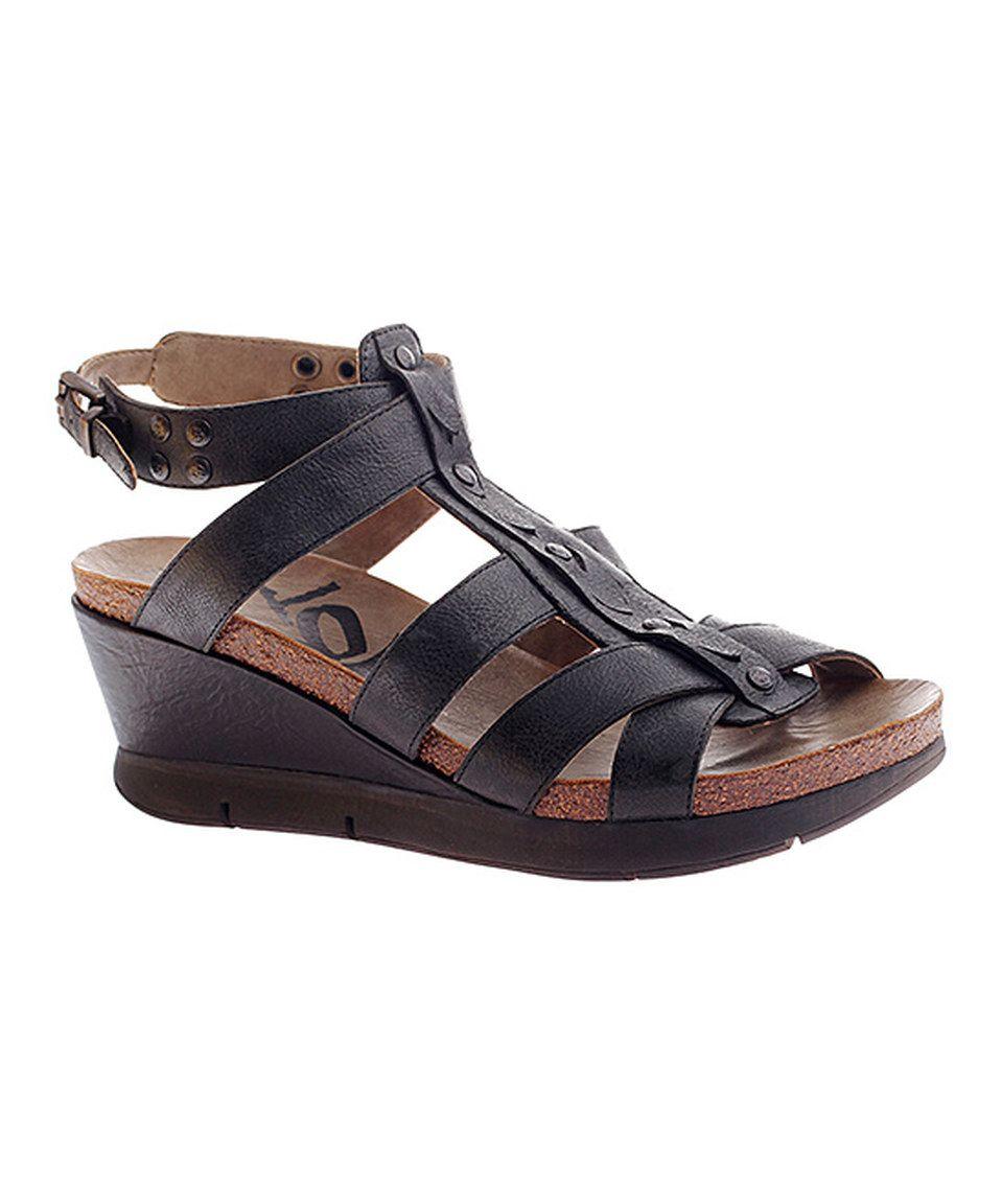 12a18f3d834 Black Grand Cayman Leather Wedge Sandal by OTBT  zulily  zulilyfinds ...