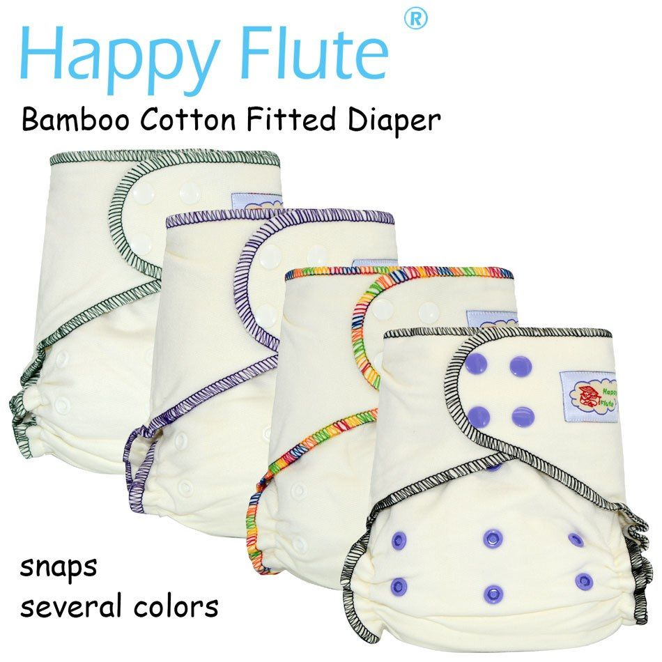 HappyFlute Onesize Bamboo Cotton Fitted Diaper, Natural