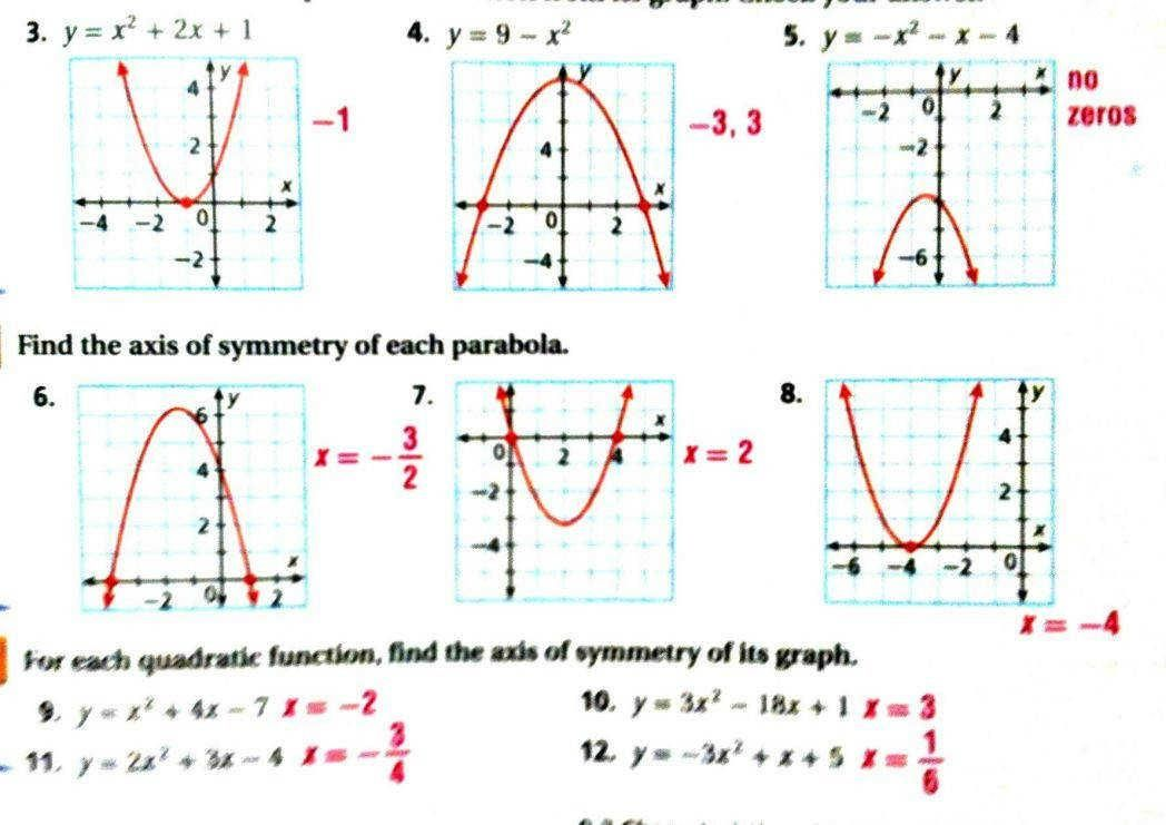 8 Graphing Quadratic Functions In Standard Form Practice ...