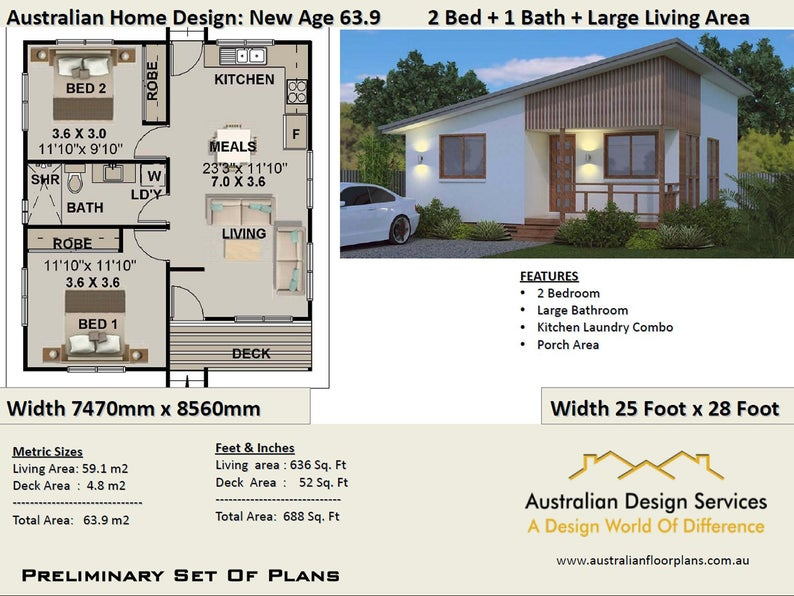 New Age Small House 2 Bedroom, Granny Flat, Living (59.1