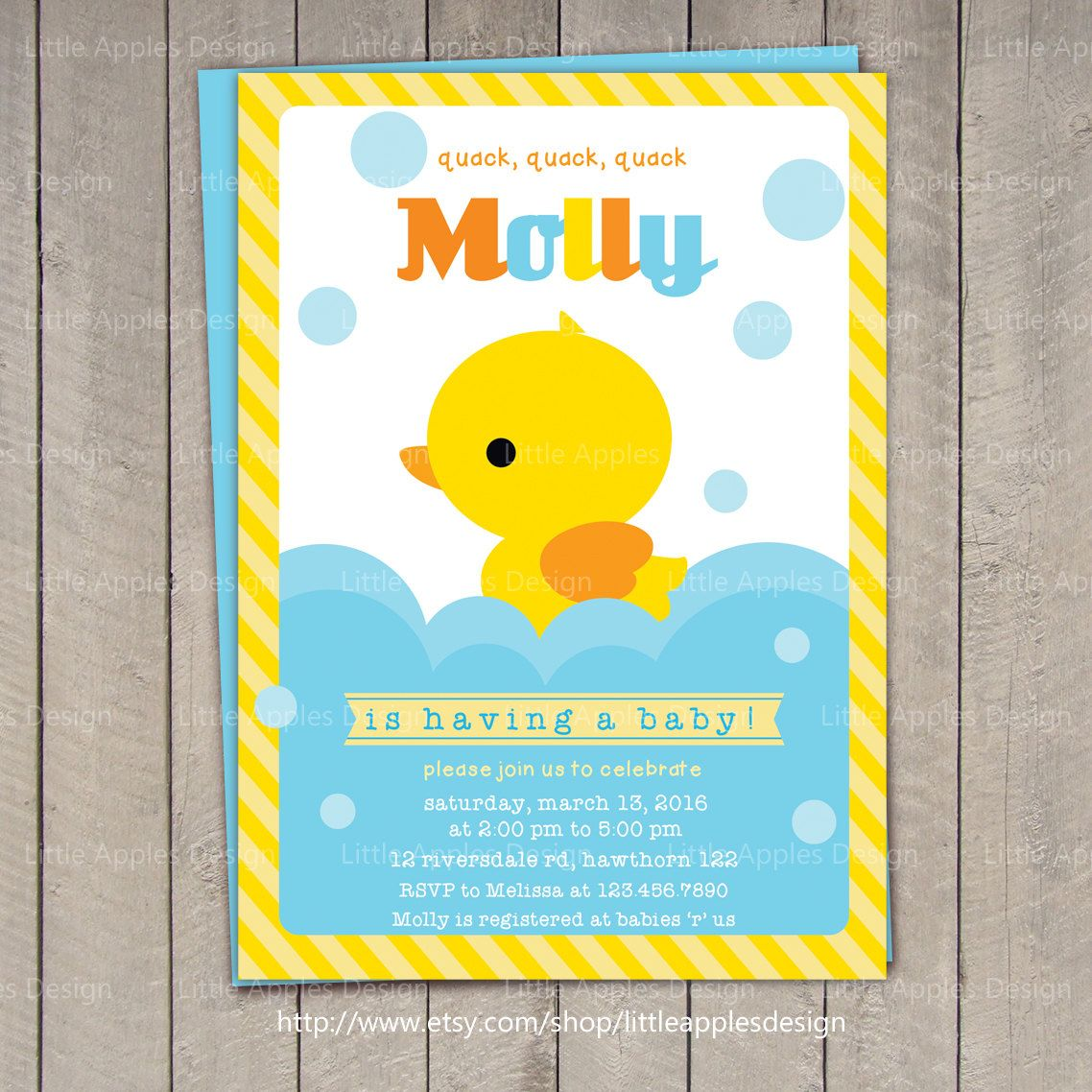 Duck Baby Shower Invitation Rubber Duck Baby Shower invitation