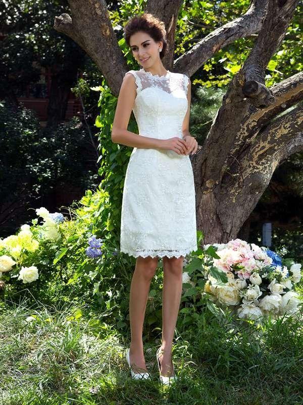 34abc48ed2c A-Line Princess Sheer Neck Applique Sleeveless Short Satin Wedding Dresses  - Wedding Dresses - Hebeos Online