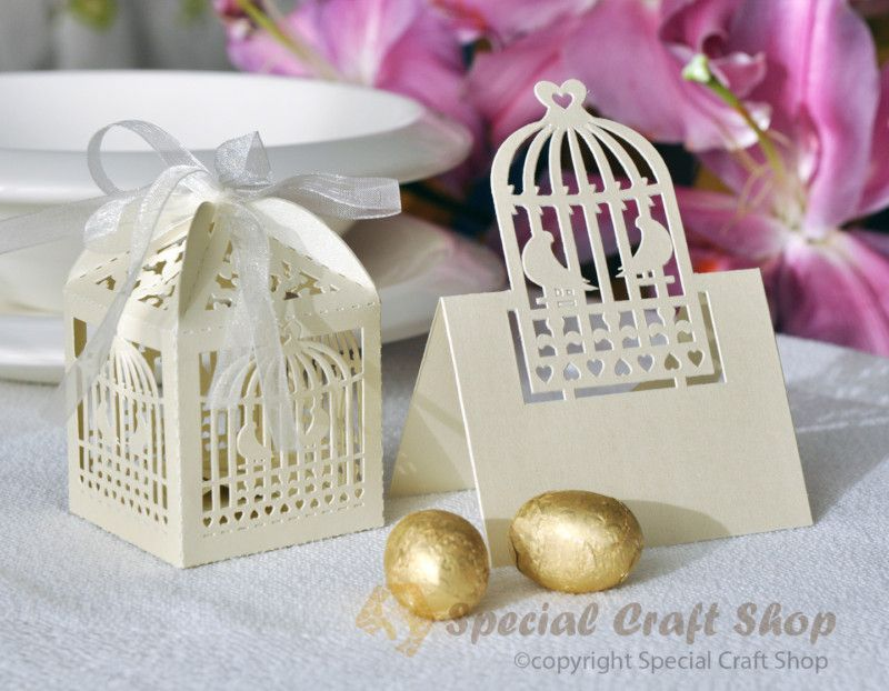 Luxury 10 Wedding Favour Boxes Bags 10 Name Place Cards Table
