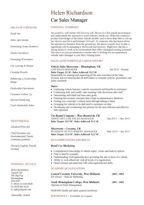 Car Sales Manager Resume Template  Resume Help    Cv