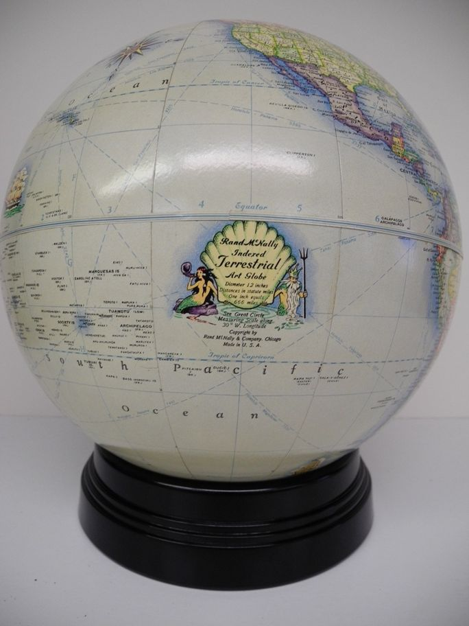 Rand McNally indexed terrestrial art globe Scarce