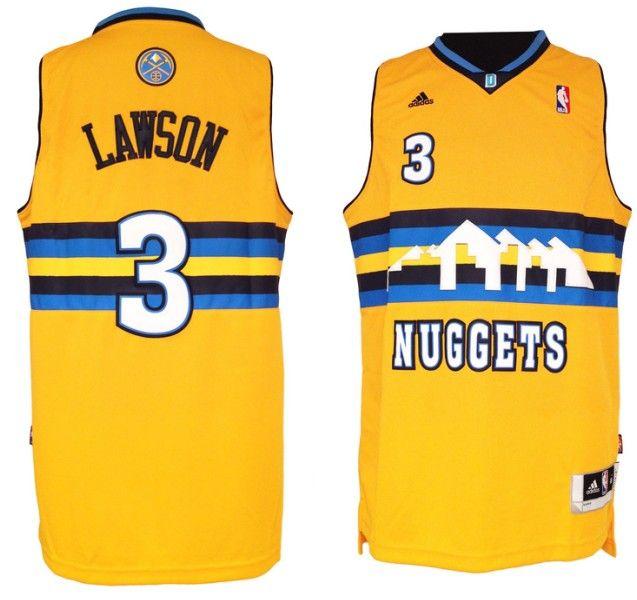 Adidas NBA Denver Nuggets 3 Ty Lawson Swingman Throwback Yellow Jersey