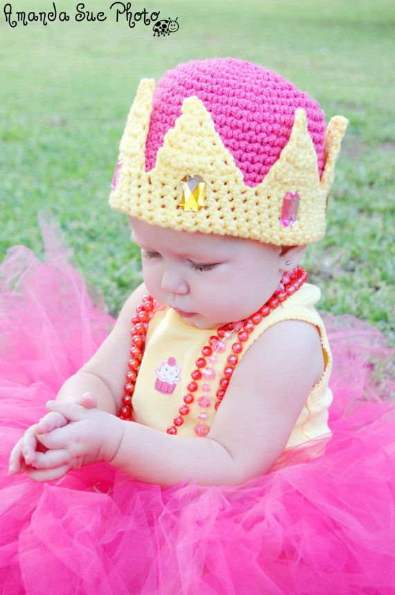 Crochet Pattern for a Princess Crown Hat with Jewels Baby Children ...