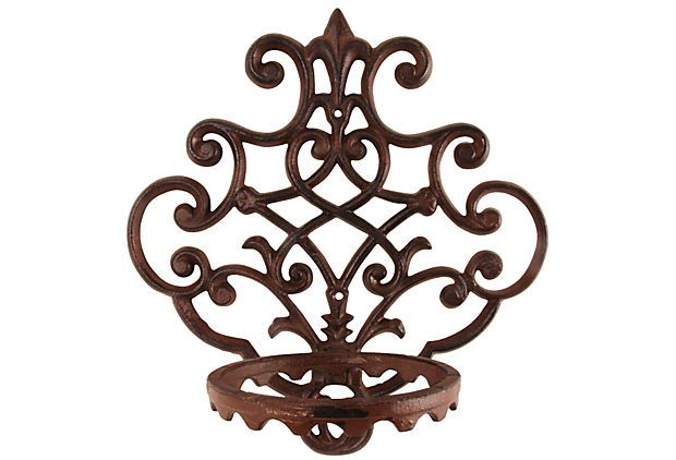 Cast Iron Wall Mounted Flower Pot Holder On Onekingslane Com Flower Pot Holder Wall Mounted Planters Plant Wall