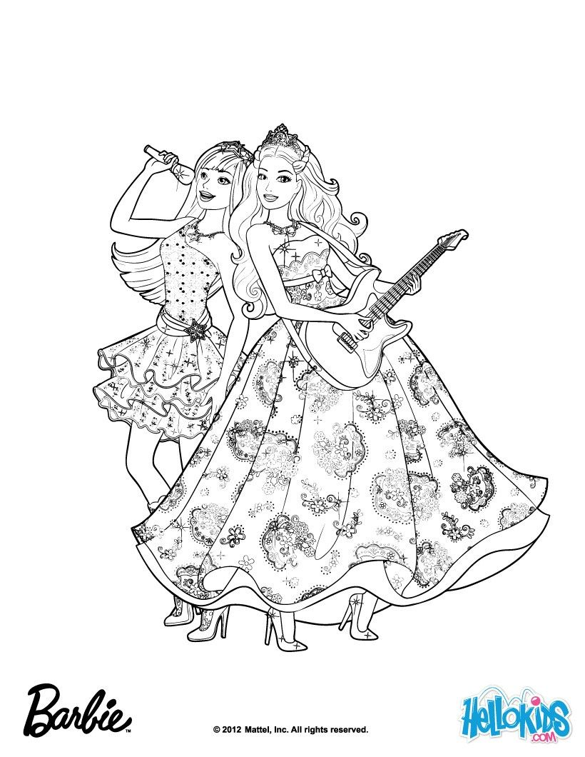 Princess Tori And Keira Popstar Barbie Coloring Page More Barbie