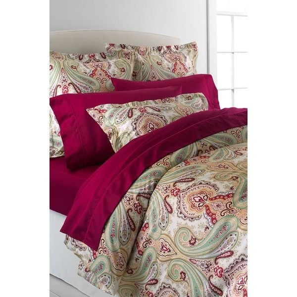 Lands' End No Iron Paisley Duvet Cover ($239) ❤ liked on Polyvore featuring home, bed & bath, bedding, duvet covers, patterned bedding, paisley bedding, lands end bedding and lands' end