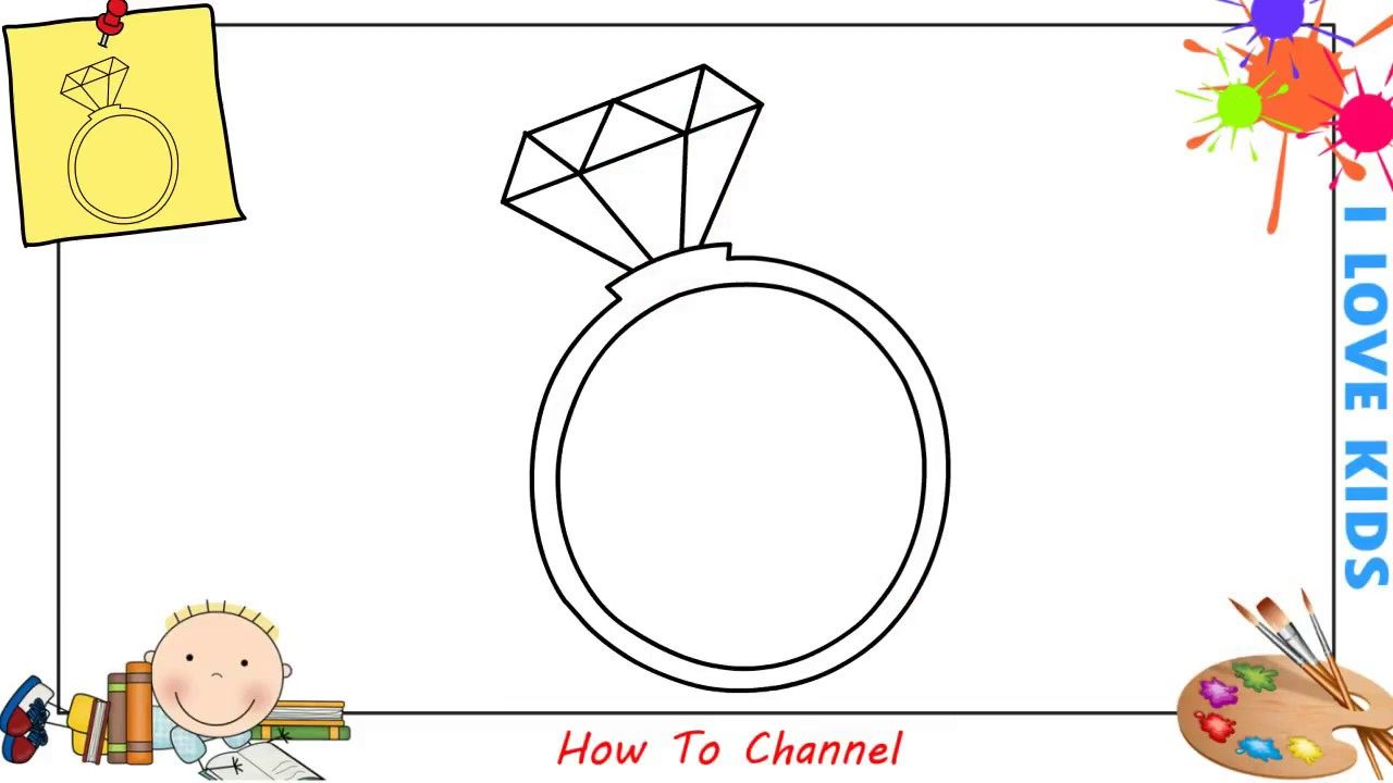 How To Draw A Diamond Ring Easy Step By Step For Kids Beginners Children Drawings Diamond Ring Drawing Drawing For Kids