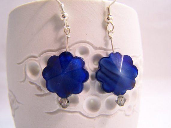 Blue Glass Flower Earrings by sleepgoblin on Etsy, $6.00