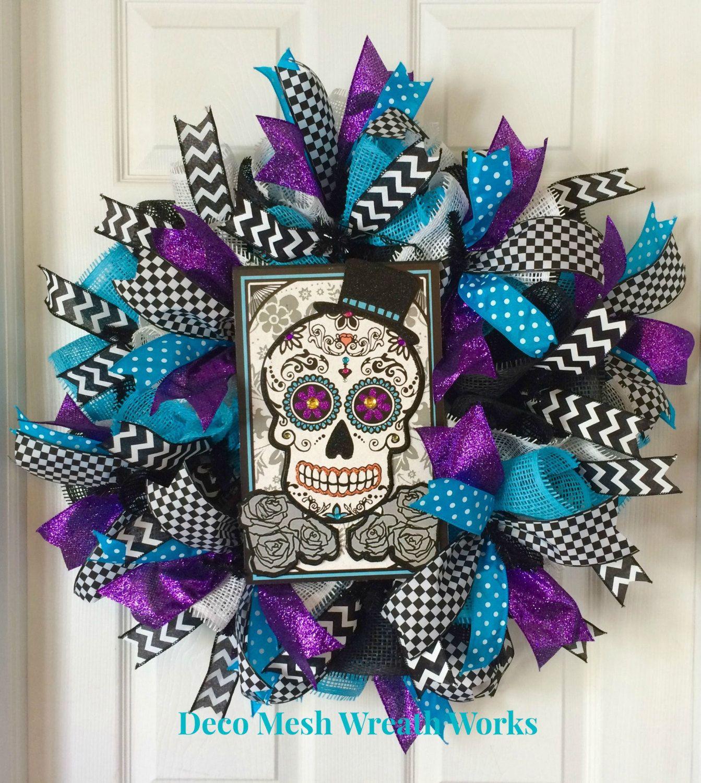 Day of the Dead Wreath, Dia de los Muertos Wreath, Halloween ...