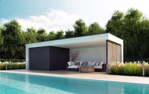 Un poolhouse vraiment contemporain installé en une journée au bord - amenagement bord de piscine