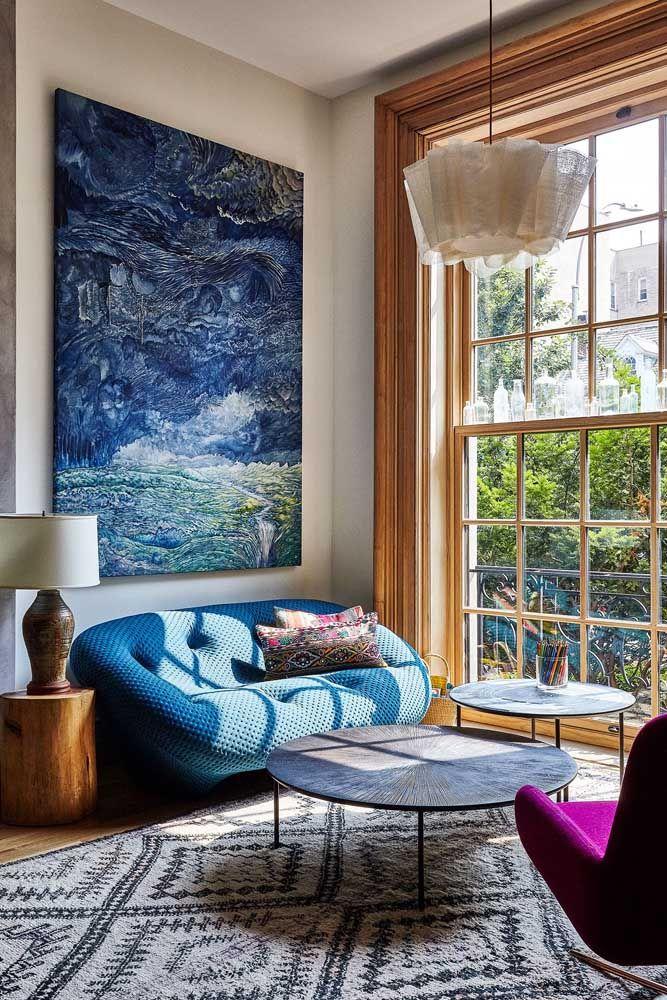 18+ Sofá Azul Royal De Canto