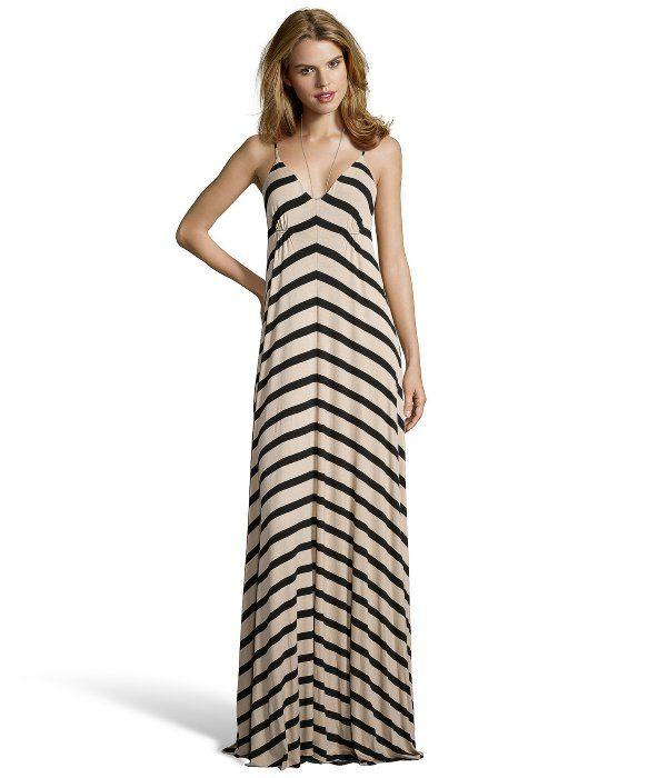 d415a8609e Wyatt camel and black striped jersey v-neck maxi dress | Clothes ...