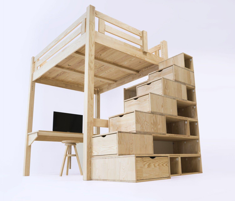 MEZZANINE Alpage avec escalier cube bois | Lit Mezzanine ...