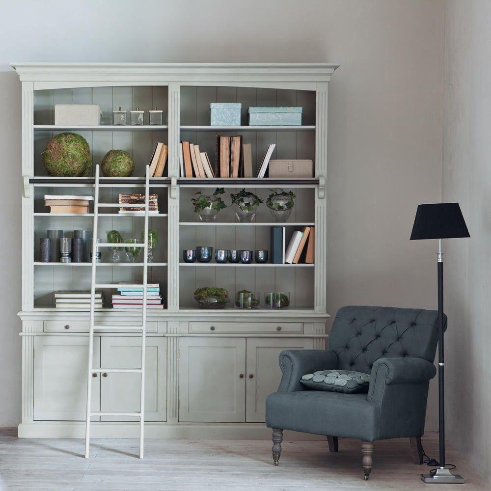 b cherregal mit leiter grau h o m e interior. Black Bedroom Furniture Sets. Home Design Ideas